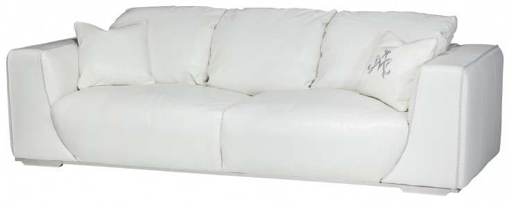 Mia Bella White Leather Standard Sofa