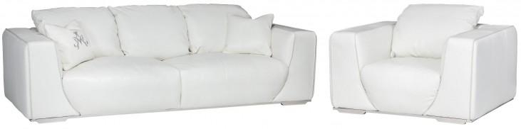 Mia Bella White Leather Living Room Set