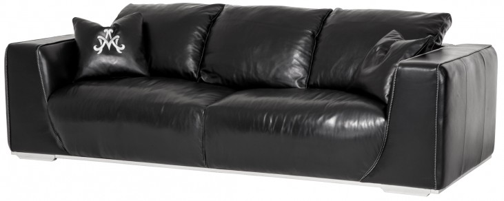 Mia Bella Onyx Leather Standard Sofa