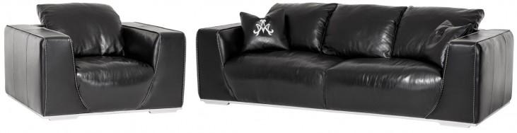 Mia Bella Black Onyx Leather Living Room Set