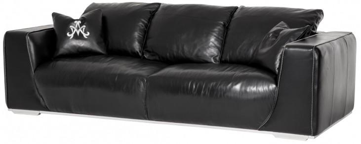 Mia Bella Onyx Leather Mansion Sofa