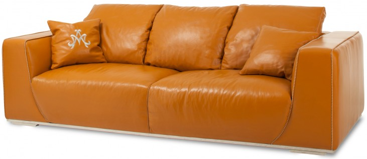 Mia Bella Tangerine Leather Mansion Sofa