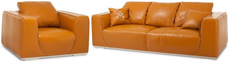 Mia Bella Tangerine Leather Living Room Set