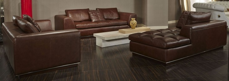 Mia Bella Dark Espresso Rosato Leather Living Room Set