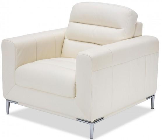 Mia Bella White Iceberg Leather Chair