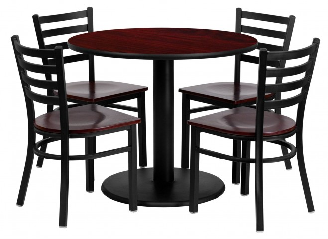 "36"" Round Mahogany Table Set with Ladder Back Metal Mahogany Chair"