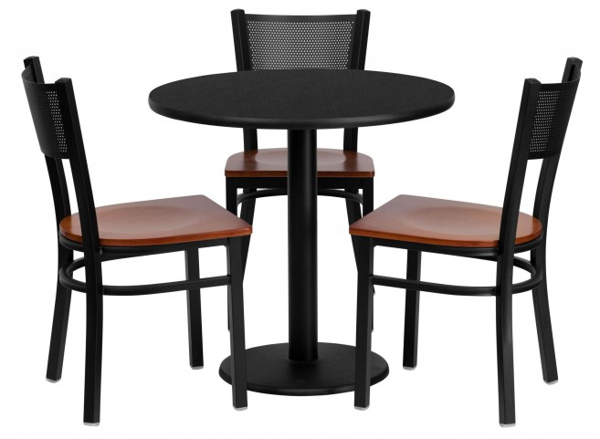 "30"" Round Black Table Set with Grid Back Metal Chair"