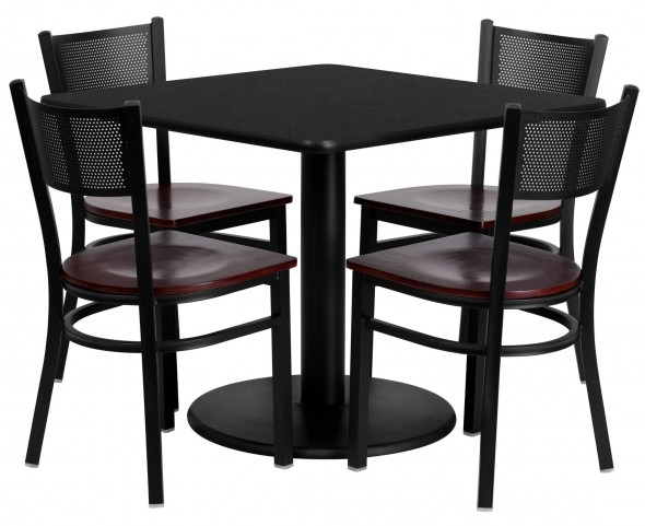 "36"" Square Black Table Set with Grid Back Metal Mahogany Chair"
