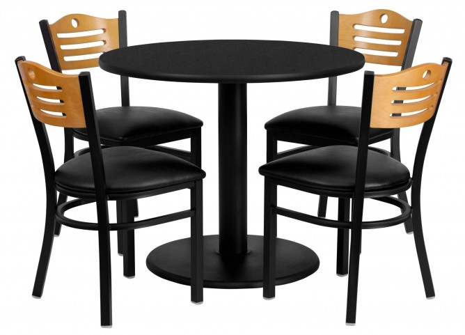 "36"" Round Black Table Set with Wood Slat Back Black Vinyl Chair"