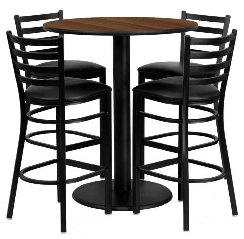 "36"" Round Walnut Table Set with Ladder Back Black Vinyl Bar Stool"