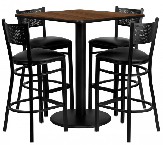 "36"" Square Walnut Table Set with Grid Back Black Vinyl Bar Stool"