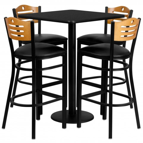 "30"" Square Black Table Set with Wood Slat Back Black Vinyl Bar Stool"