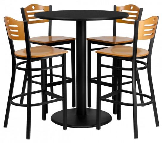 "36"" Round Black Table Set with Wood Slat Back Metal Natural Bar Stool"