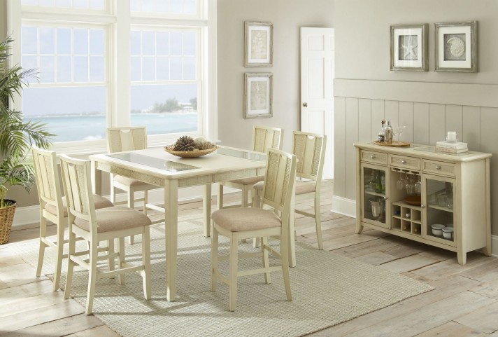 Counter Height White Dining Set : ... > Melody White Extendable Rectangular Counter Height Dining Room Set