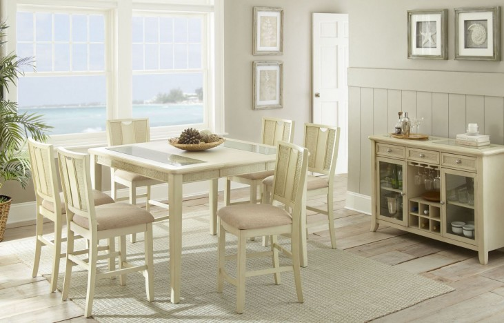 Melody White Extendable Rectangular Counter Height Dining Room Set