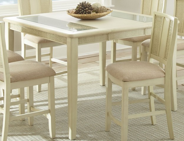 Melody White Extendable Rectangular Counter Height Dining Table