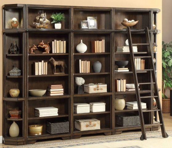 Meridien Burnished Dark Ash Bookcase Wall