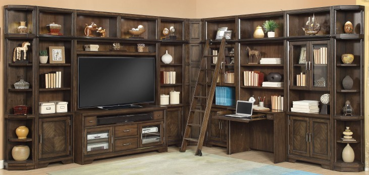 Meridien Burnished Dark Ash L Shape Wall Unit