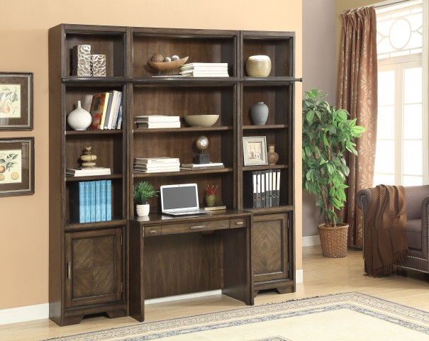 Meridien Burnished Dark Ash Desk Wall Unit