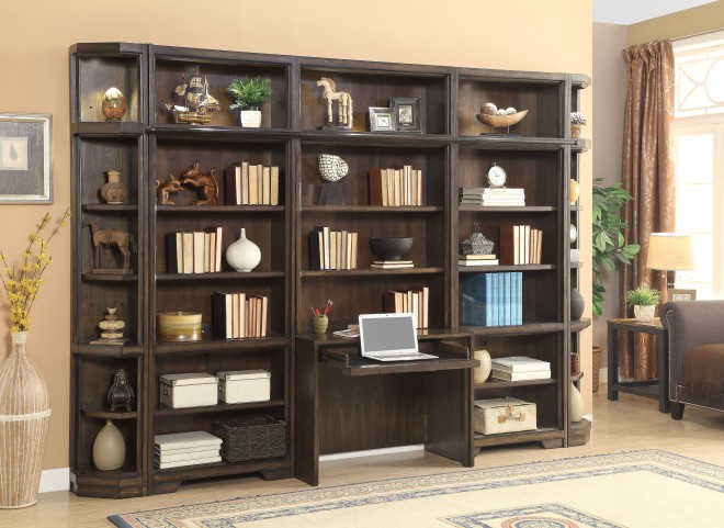 Meridien Burnished Dark Ash 6 Piece Desk Wall Unit