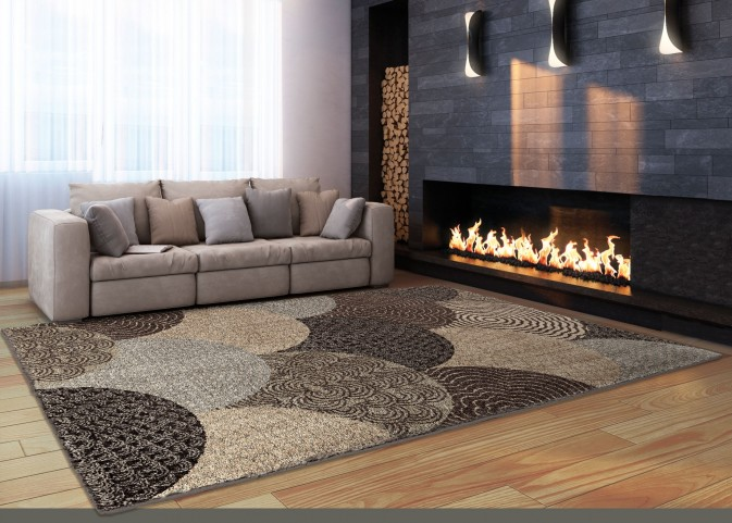 "Wild Weave Oystershell Seal Black Medium 90"" Rug"
