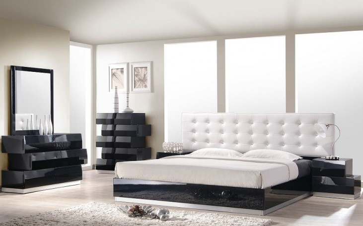 Milan Black Lacquer Platform Bedroom Set