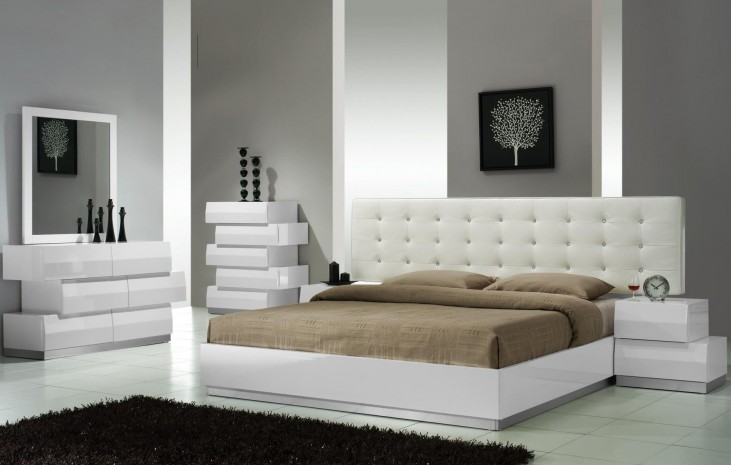 Milan White Lacquer Platform Bedroom Set