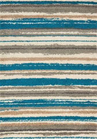 Milo Blue/Brown Airbrush Stripes Large Rug