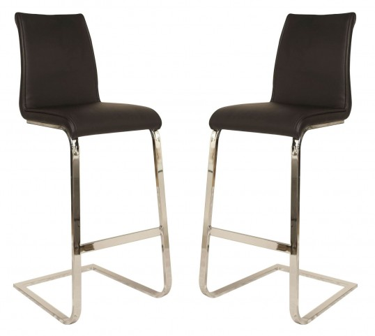 Regis Milo Chrome Black Barstool Set of 2