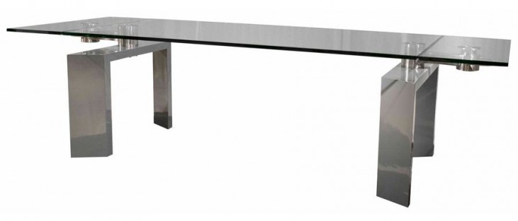 Ritz Mo Stainless Steel Rectangular Extendable Dining Table
