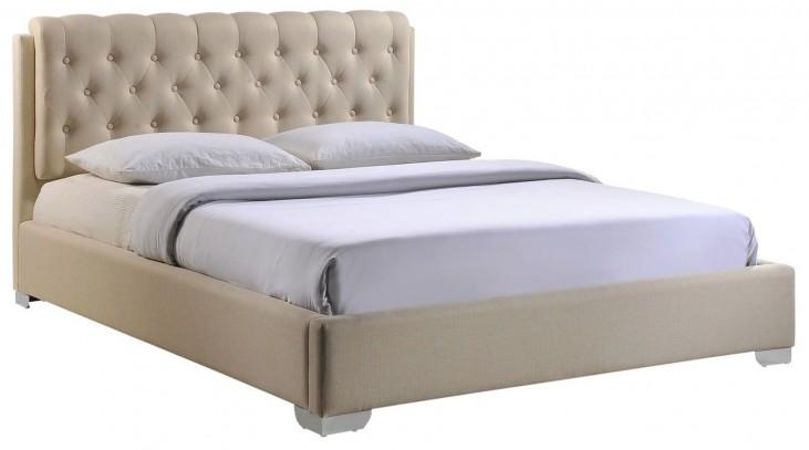 Amelia Beige Queen Fabric Bed