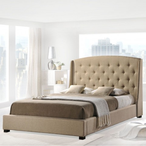 Lydia Beige Queen Bed