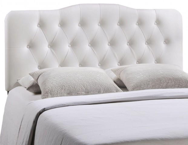 Annabel White Queen Vinyl Headboard