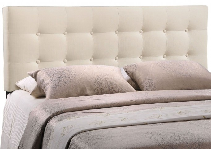 Emily Ivory Queen Fabric Headboard