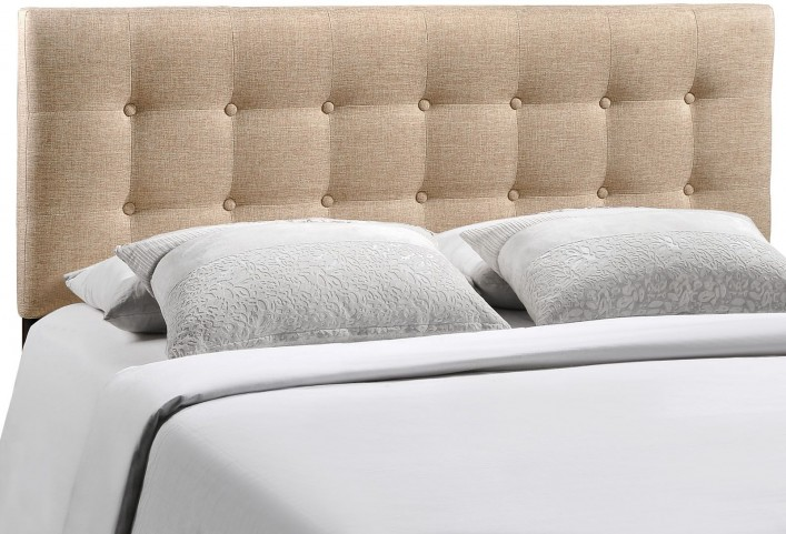 Emily Beige King Fabric Headboard