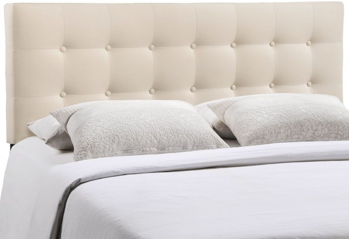 Emily Ivory King Fabric Headboard