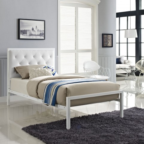 Mia White Twin Vinyl Platform Bed