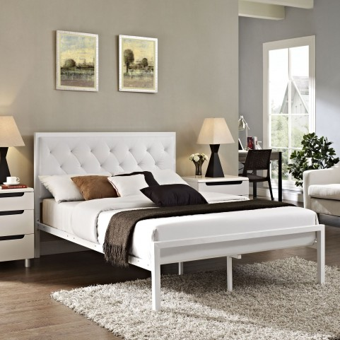Mia White Full Vinyl Platform Bed