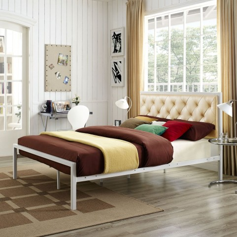 Mia White and Champagne Queen Vinyl Platform Bed