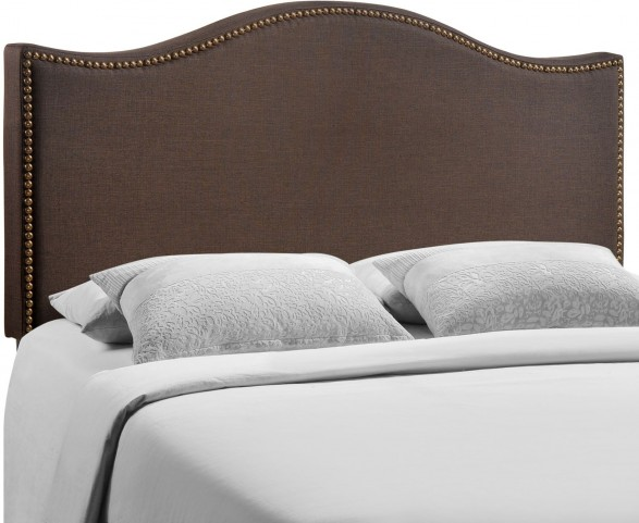 Curl Dark Brown Queen Nailhead Upholstered Headboard