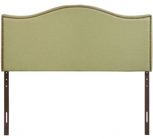 Curl Green Queen Nailhead Upholstered Headboard