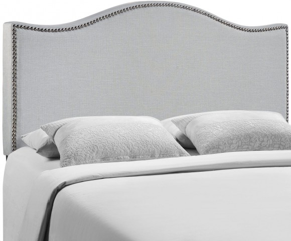 Curl Gray Queen Nailhead Upholstered Headboard