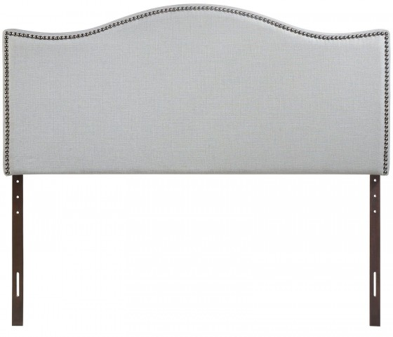 Curl Gray Queen Nailhead Upholstered Headboard