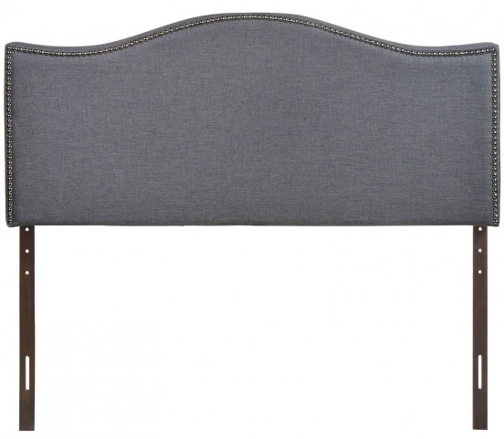 Curl Smoke Queen Nailhead Upholstered Headboard