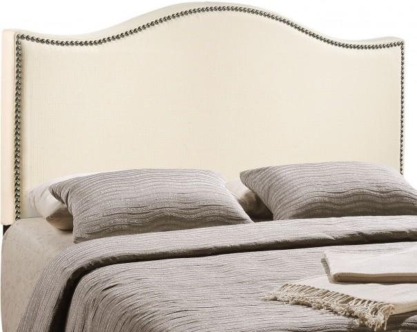 Curl Ivory King Nailhead Upholstered Headboard