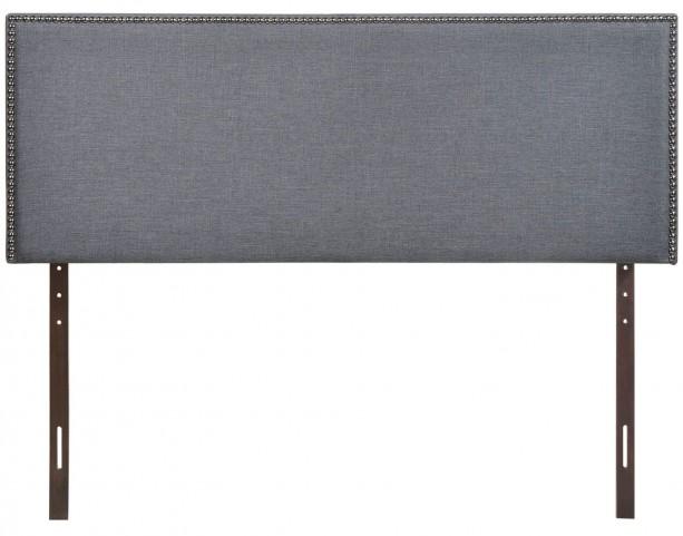 Region Smoke Queen Nailhead Upholstered Headboard
