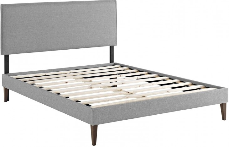 ... Light Gray Queen Upholstered Platform Bed with Squared Tapered Legs
