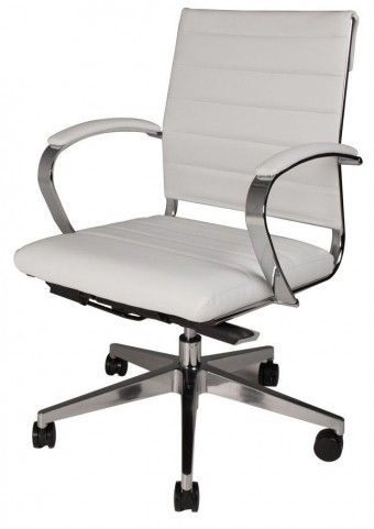 Sedia Moda White Mid Back Office Chair