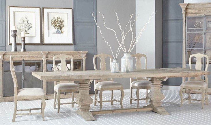 Monastery Smoke Gray Rectangular Extendable Trestle Dining Room Set with Louis XV Dining Chairs