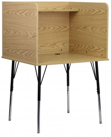 Oak Study Carrel with Adjustable Legs and Top Shelf